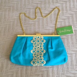NWT Lilly Pulitzer turquoise opening night clutch
